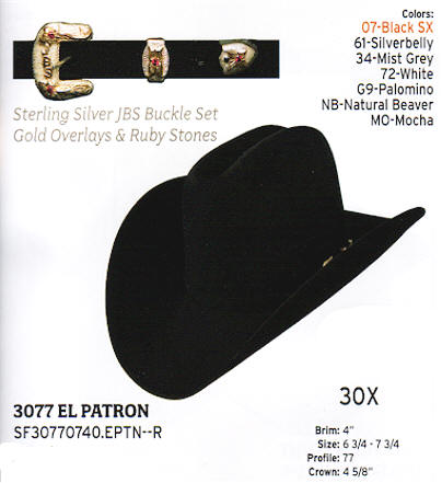 3077 El Patron by Stetson hats