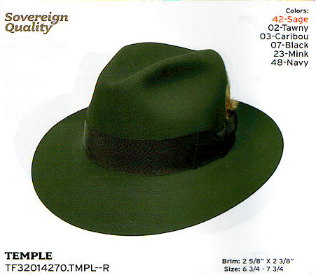 Temple color Sage by Stetson hats