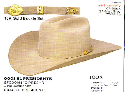 El Presidente hat by Stetson hats