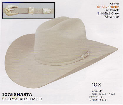 10x Shasta by Stetson hats