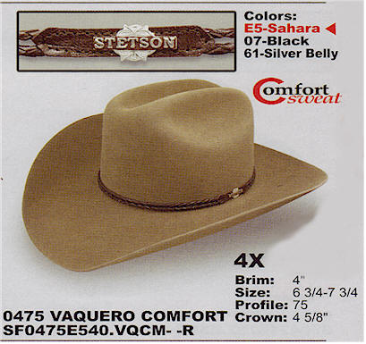 Vaquero Comfort hat by Stetson